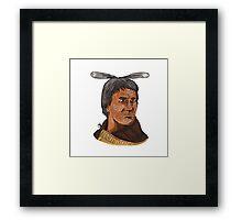 Maori Chief Warrior Bust Watercolor Framed Print