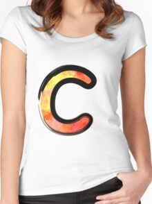 Watercolor - C - orange Women's Fitted Scoop T-Shirt