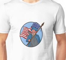 American Patriot Carrying USA Flag Circle Drawing Unisex T-Shirt