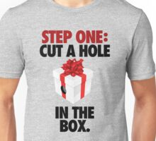 STEP ONE: CUT A HOLE IN THE BOX. - V3 Unisex T-Shirt