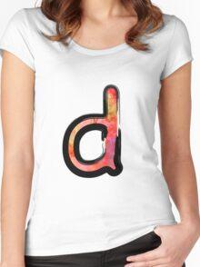 Watercolor - D - orange Women's Fitted Scoop T-Shirt
