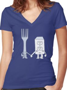 The Cutest Couple: Fork & Electrical Outlet Women's Fitted V-Neck T-Shirt