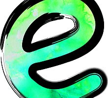Watercolor - E - green by hartzelldesign