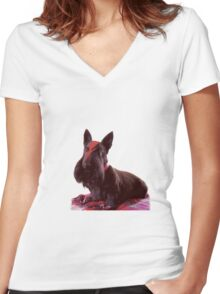 Ziggy Scottie dog Women's Fitted V-Neck T-Shirt