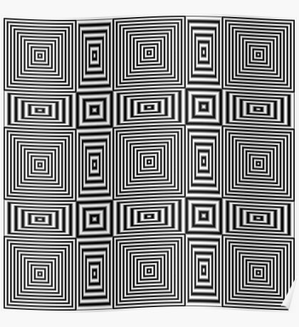 Flickering geometric optical illusion pattern Poster