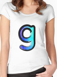 Watercolor - G - blue Women's Fitted Scoop T-Shirt