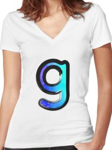 Watercolor - G - blue Women's Fitted V-Neck T-Shirt