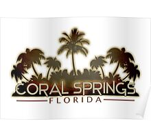 Coral Springs Florida palm tree design Poster