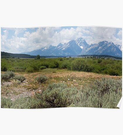 Grand Tetons from Willows Flat Poster