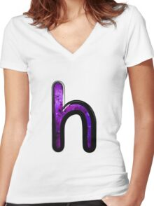 Watercolor - H - purple Women's Fitted V-Neck T-Shirt