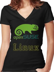 linux opensuse Women's Fitted V-Neck T-Shirt
