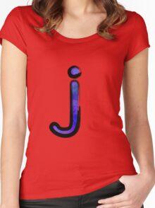 Watercolor -  J - purple Women's Fitted Scoop T-Shirt