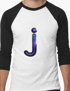 Watercolor -  J - purple Men's Baseball ¾ T-Shirt
