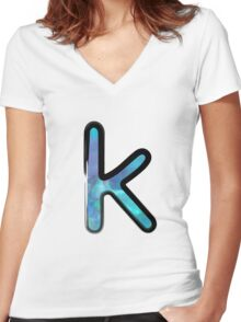 Watercolor - K - blue Women's Fitted V-Neck T-Shirt