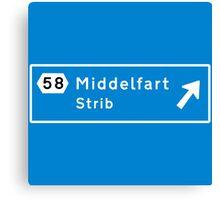 Middelfart, Road Sign, Denmark Canvas Print