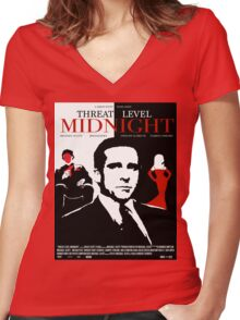 The Office: Threat Level Midnight Movie Poster Women's Fitted V-Neck T-Shirt