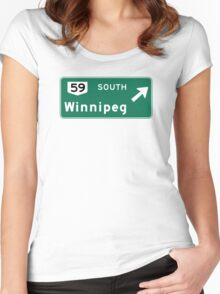 Winnipeg, Road Sign, Canada Women's Fitted Scoop T-Shirt