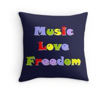 Music Love Freedom colours Throw Pillow