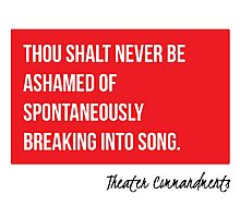 Thou Shalt Not Be Ashamed To Break Into Song Photographic Print