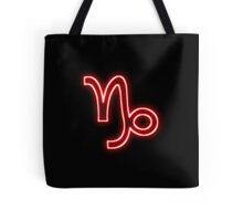 Bright Red Neon -  Capricorn the Goat Star Sign Tote Bag