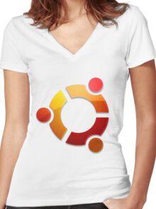 Ubuntu Logo Women's Fitted V-Neck T-Shirt