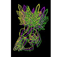 Neon Crystal Skull Photographic Print