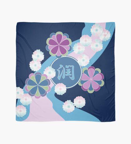 Japanese Chrysanthemums Floating Floral River Pink Blue Nagarekiku Scarf