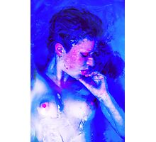 Immerse - valentine sexy nude love romance cool t-shirt erotic fun beautiful retro blue Photographic Print
