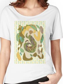 Mother Earth Abstract Illustration Animal Plant Patterns Women's Relaxed Fit T-Shirt