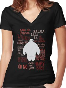 Baymax Quotes Collage Women's Fitted V-Neck T-Shirt