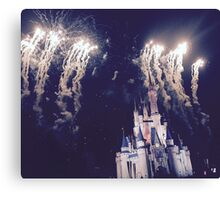 Magic Kingdom Castle With Fireworks Canvas Print