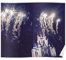 Magic Kingdom Castle With Fireworks Poster
