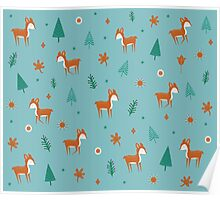 Cute Deer Pattern Poster