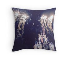 Magic Kingdom Castle With Fireworks Throw Pillow