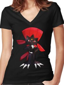 Weavile - Red Women's Fitted V-Neck T-Shirt