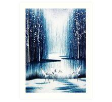 'Winter Trio' - Winter Heron Scene Art Print