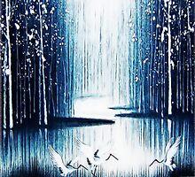 'Winter Trio' - Winter Heron Scene by delphicdesigns