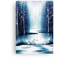 'Winter Trio' - Winter Heron Scene Canvas Print