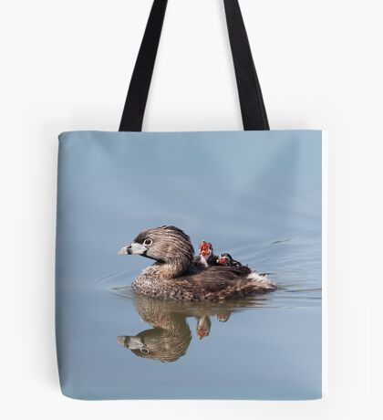 """Mom!...Timmy won't move over!"" Pied-billed grebes Tote Bag"
