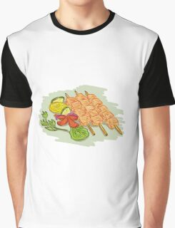 Chicken Kebabs Vegetables Drawing Graphic T-Shirt