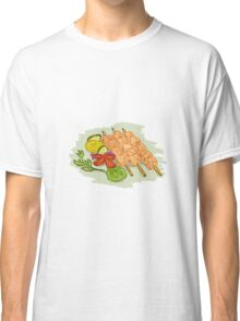 Chicken Kebabs Vegetables Drawing Classic T-Shirt
