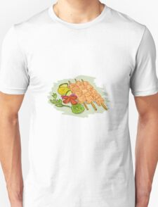 Chicken Kebabs Vegetables Drawing T-Shirt