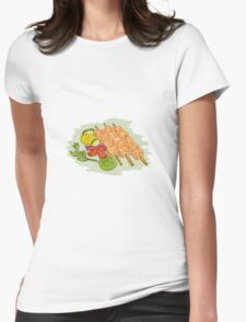 Chicken Kebabs Vegetables Drawing Womens Fitted T-Shirt