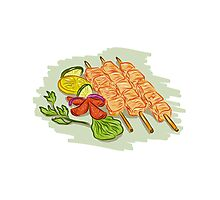 Chicken Kebabs Vegetables Drawing Photographic Print