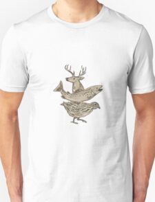 Deer Trout Quail Drawing T-Shirt