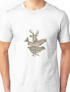 Deer Trout Quail Drawing Unisex T-Shirt