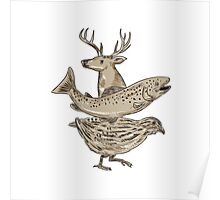 Deer Trout Quail Drawing Poster