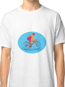Female Cyclist Riding Bike Drawing Classic T-Shirt