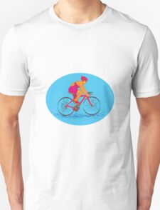 Female Cyclist Riding Bike Drawing T-Shirt