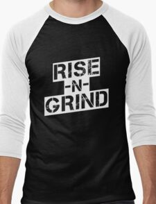 Rise n Grind - White Men's Baseball ¾ T-Shirt